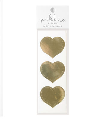Park Lane 30 pk Heart Envelope Seals-Gold
