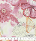 Keepsake Calico Cotton Fabric-Coral Watercolor Butterfly Floral