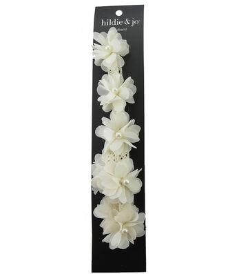 hildie & jo 8.63''x5'' Soft Headband with Flowers-Ivory