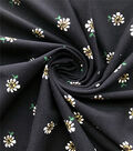 Knit Prints Double Brushed Polyester Fabric-Navy Scattered Daisies
