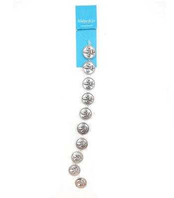 hildie & jo Round Metal Strung Beads-Silver Fleur de Lis