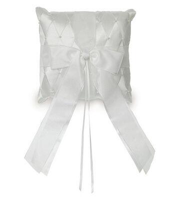"Wilton 6.5""x6.5"" Satin Ribbon Ring Bearer Pillow-White"
