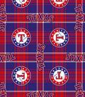 Texas Rangers Fleece Fabric 58\u0022-Plaid