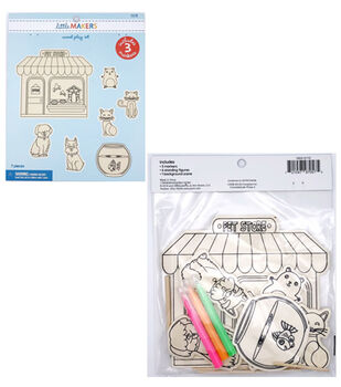 Little Makers Wood Coloring Kit-Pet