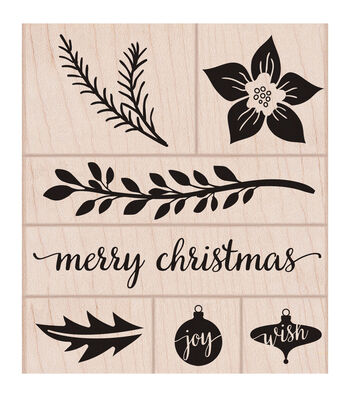Hero Arts Wood Mounted Rubber Stamp Set-Christmas Time Trimmings