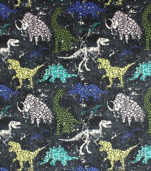 Super Snuggle Flannel Fabric-Distressed Dino on Black