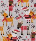 Snuggle Flannel Fabric 42\u0022-Santa & Reindeer