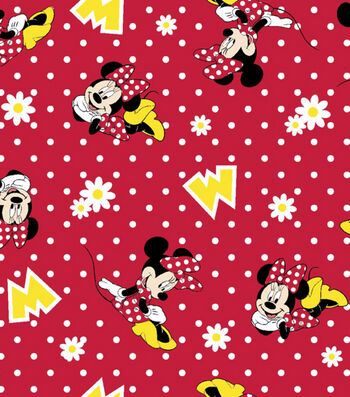 "Disney Minnie Mouse Flannel Fabric 42""-Dots"