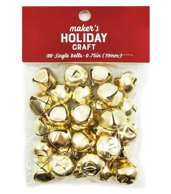 Maker's Holiday Craft Christmas 30 pk 0.75'' Bells-Gold