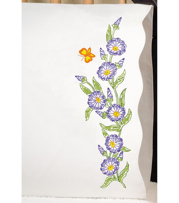 "Stamped Pillowcase Pair 20""X30"" For Embroidery-Morning Glories"