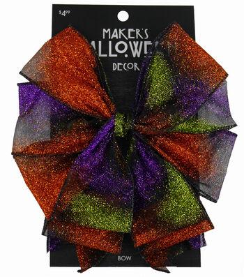 Maker's Halloween 2.5'' Decorative Glitter Bow-Ombre