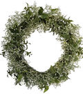 Fresh Picked Spring 21\u0027\u0027 Baby\u0027s Breath & Leaves Wreath-Cream & Green