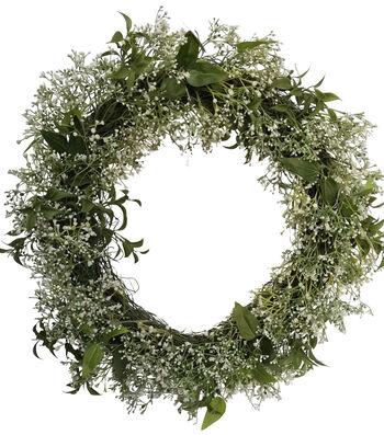 Fresh Picked Spring 21'' Baby's Breath & Leaves Wreath-Cream & Green