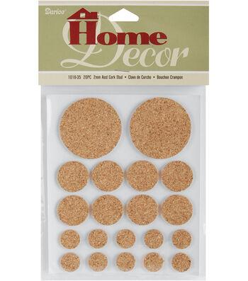 Darice Adhesive Cork Studs Round Assorted 2mm 20/Pkg