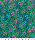 Novelty Cotton Fabric-Watercolor Peacock Feathers