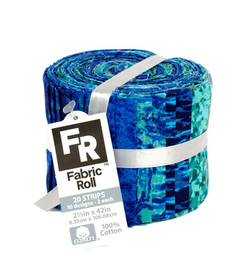 Jelly Roll Cotton Fabric Pack 2.5''x42''-Blue, Turquoise & Metallic