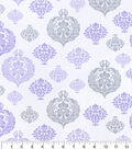 Nursery Cotton Fabric -Lilac Spaced Damask