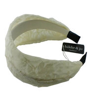 hildie & jo Wide Headband-Ivory with Lace, , hi-res