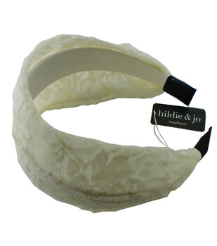 hildie & jo Wide Headband-Ivory with Lace