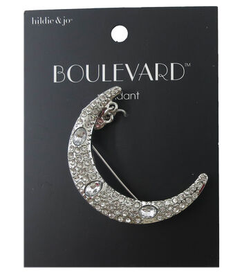 hildie & jo Boulevard 2''x0.25'' Moon with Heart Silver Brooch