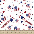 Patriotic I Love America Print Fabric
