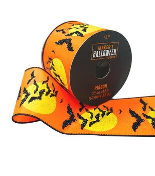 Maker's Halloween Decor Ribbon 2.5''x12'-Bats & Moon on Orange