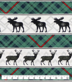Super Snuggle Flannel Fabric-Blackwatch Lodge Animals