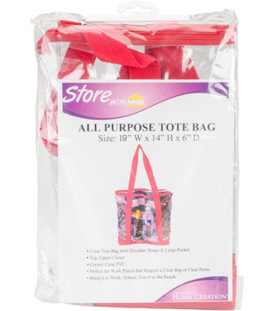 """All-Purpose Clear Tote Bag 19""""X14""""X6""""-Red"""