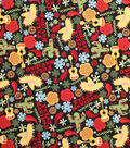 Christmas Cotton Fabric-Feliz Navidad And Flakes