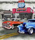 Novelty Cotton Fabric-Route 66 Patch