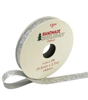 Handmade Holiday Christmas Glitter Ribbon 3/8''x9'-Iridescent Silver