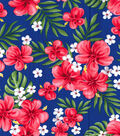 Gertie Collection Cotton Poplin Fabric -Tropical on Navy