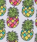 Anti-Pill Fleece Fabric -Multicolor Pineapples