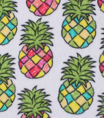 Anti-Pill Fleece Fabric 59''-Multicolor Pineapples