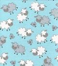 Snuggle Flannel Fabric-Sheepie Blue