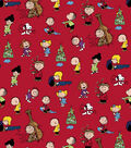 Peanuts Christmas Cotton Fabric-Characters On Red