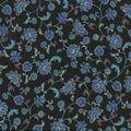 Premium Cotton Fabric-Budding Flower Vines on Black