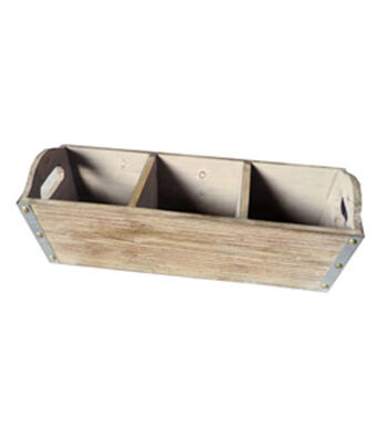 Bloom Room 3 Section Wood Section Basket With Metal??