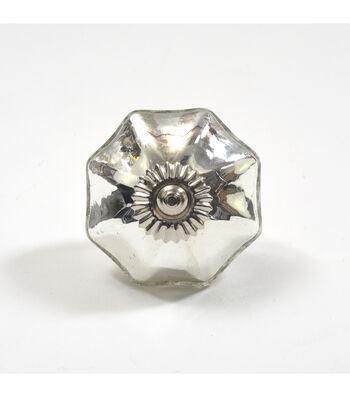 Dritz Home Mercury Glass Scallop Knob-Silver