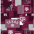 Texas A&M University Aggies Cotton Fabric -Modern Block