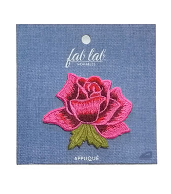 Fab Lab 3.5''x3.5'' Rose Iron-on Applique Patch-Pink
