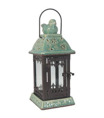 Wild Blooms Bird Perch Lantern-Green
