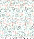 Easter Spring Pastels Cotton Fabric-Family Words