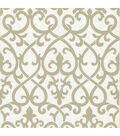 Giselle Olive Ironwork Damask  Wallpaper Sample