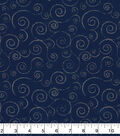 Christmas Cotton Fabric-Blue Swirl Vines with Silver Glitter