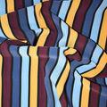Silky Print Textured Fabric-Blue, Yellow, Purple Stripe