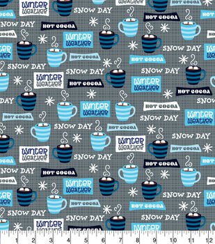 Super Snuggle Flannel Fabric-Winter Weather Words