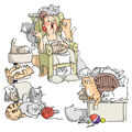 Cat Lady -try\u0027folds Stamp