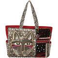 Laurel Burch Oversized Tote Zipper Top 22.5\u0022x5.5\u0022x15.5\u0022-Whiskered Cat