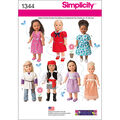 Simplicity Pattern 1344OS One Size -Crafts Doll Clothes
